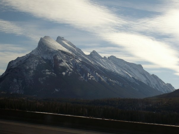 View of the Rockies from the highway near Banff