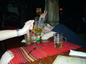 Drinking in a Bulgarian tavern, Bansko