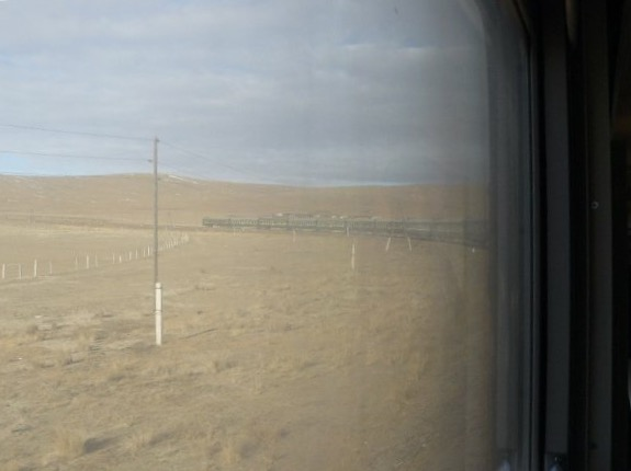 Trans-Mongolian train in the Gobi desert
