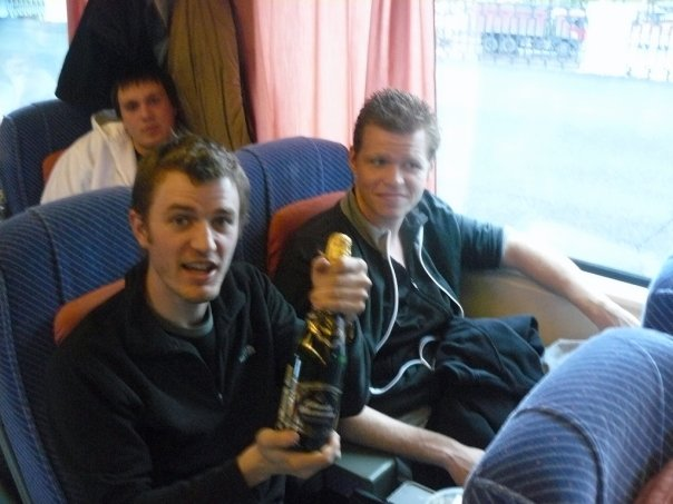 Birthday champagne on the train to St Petersburg