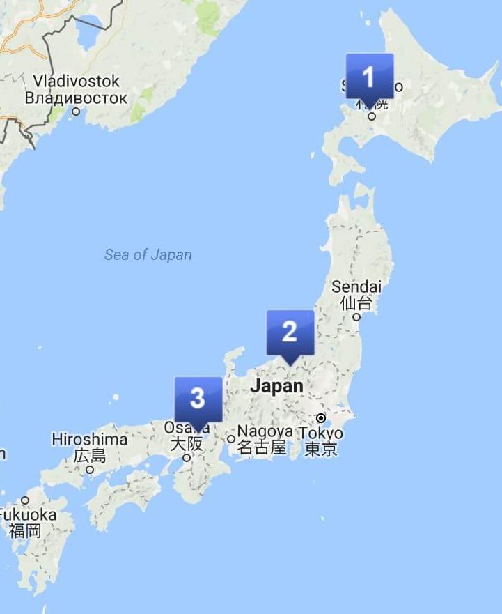 Japan ski map