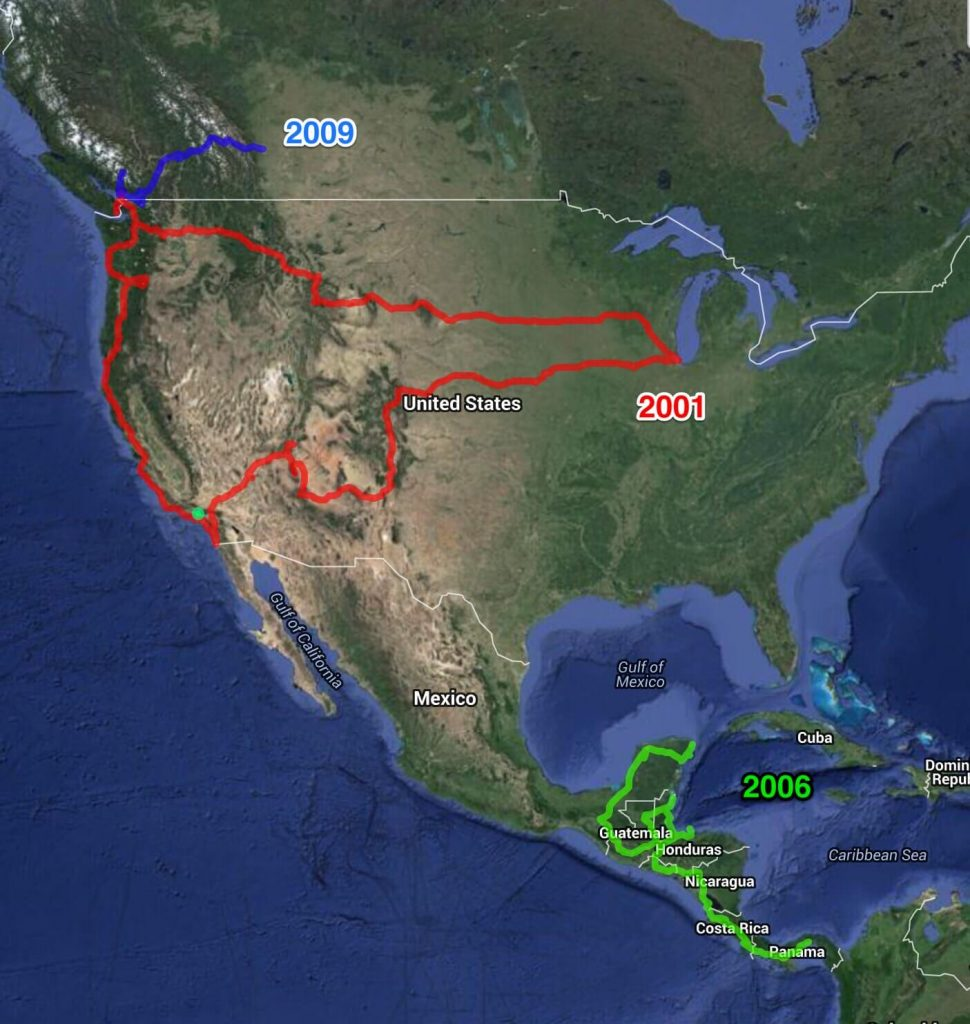 Map of my overland routes in North America