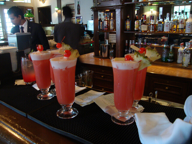 Singapore slings at the Raffles hotel's Long Bar