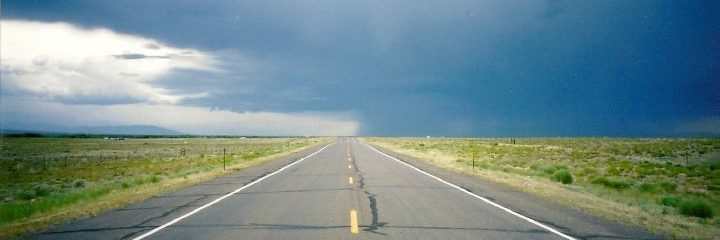 Stormy skies over a south Colorado highway