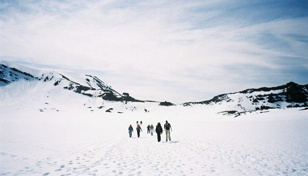 Winter conditions on the Tongariro Crossing