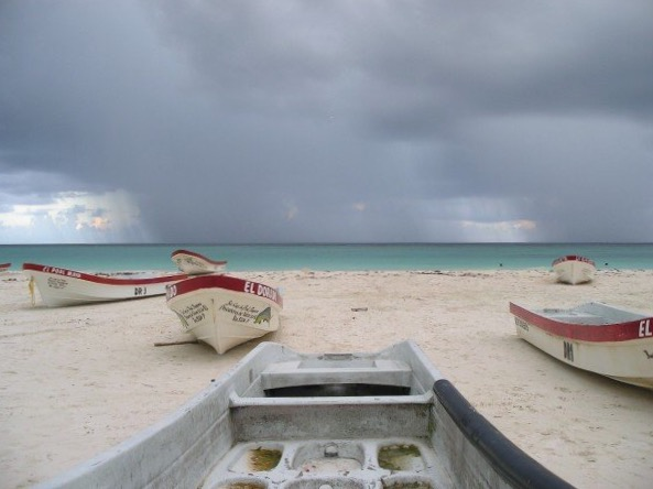 Rain storm over the Caribbean, Tulum