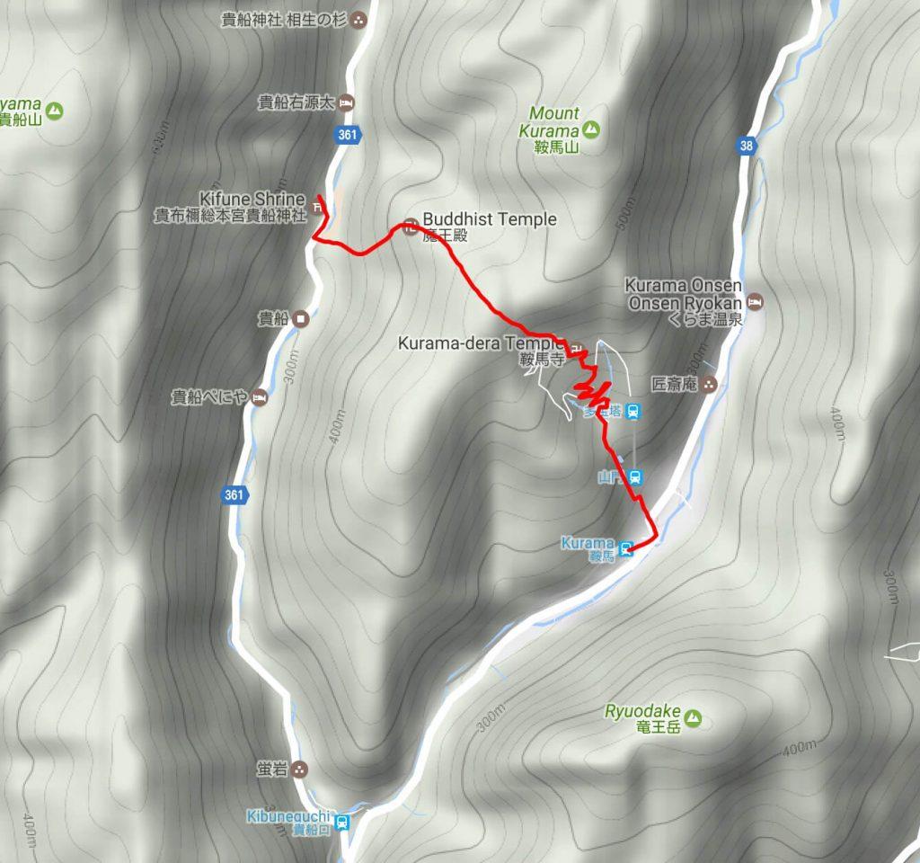 Kurama to Kibune hike map