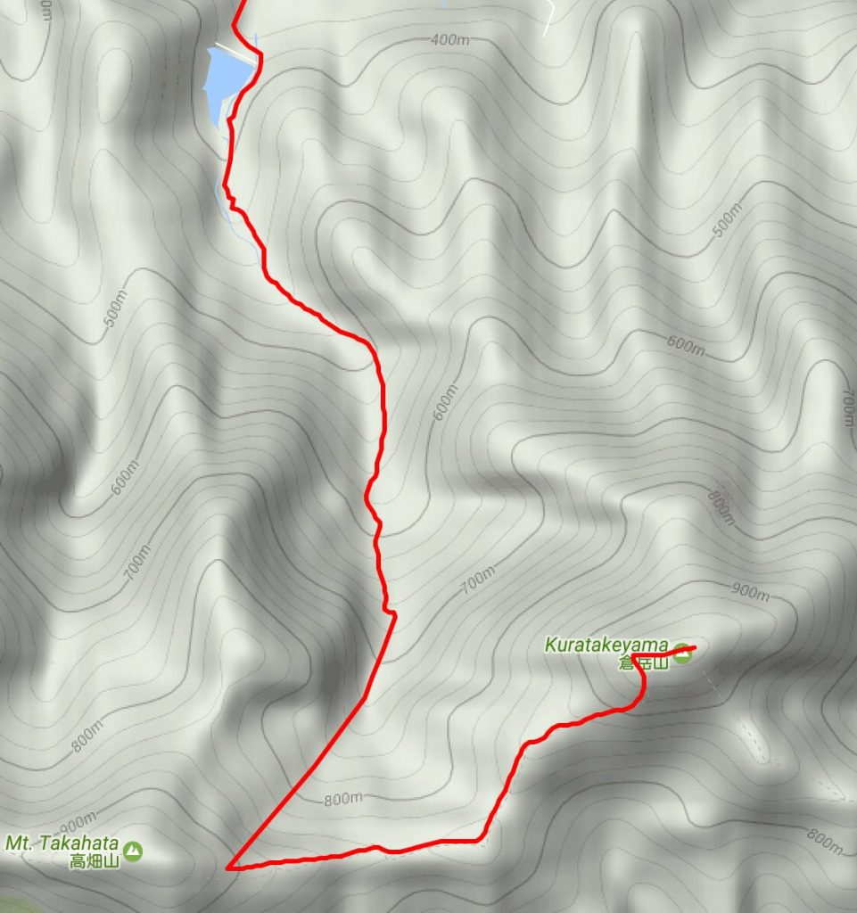 Map of the upper route for Kuratakeyama
