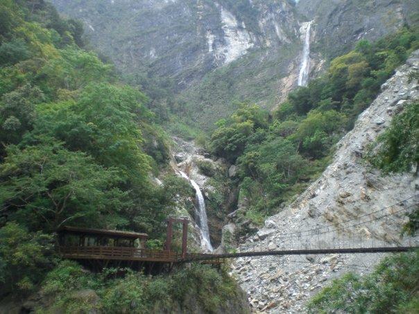 Waterfall and bridge in Taroko Gorge
