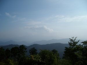 Non-view of Fuji from the top of Mt Takao