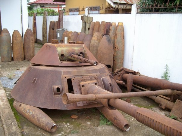 Scrap metal from the Vietnam war in Phonsavan