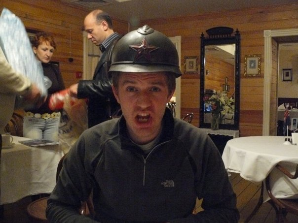 Mike in his soldier's hat, Perm