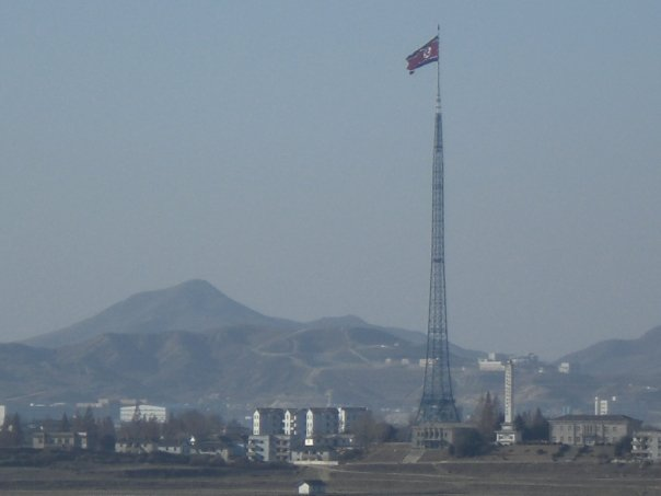 The fake town of Kijong-dong in North Korea, with its huge flagpole