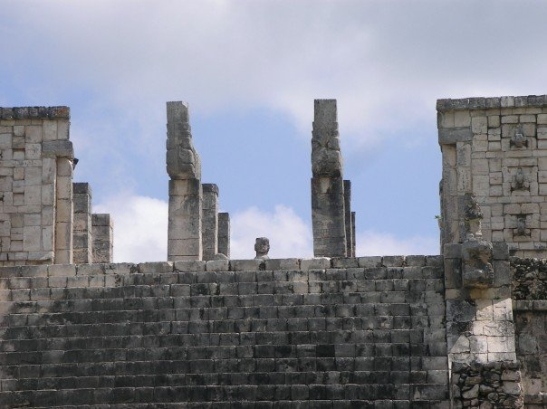 Steps and pillars at Chichen Itza