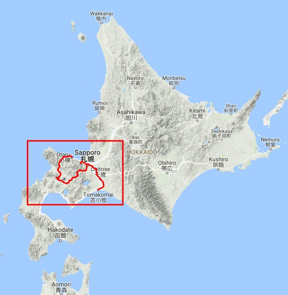 Map of my ski tour route in Hokkaido