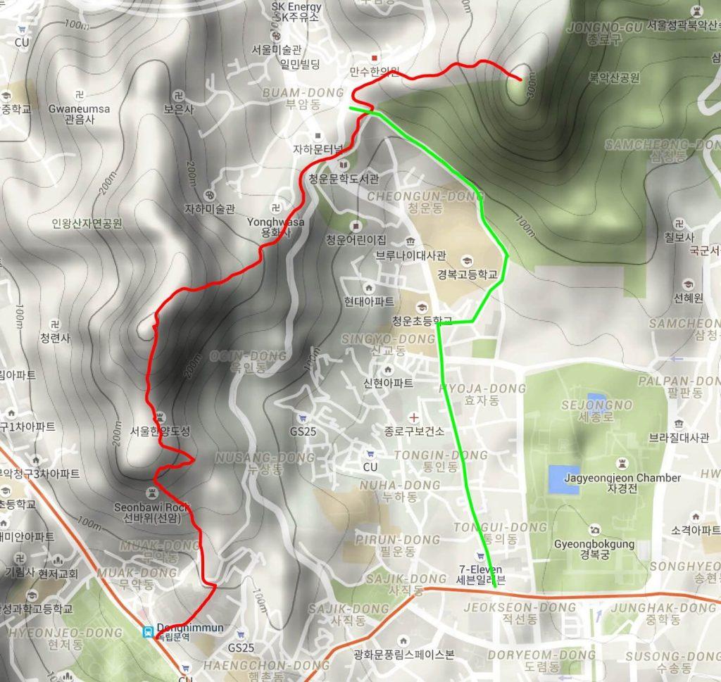 Hiking map for Inwangsan & Bugaksan