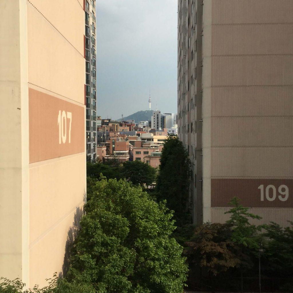 View of Namsan from the Hyundai apartments near Inwangsan