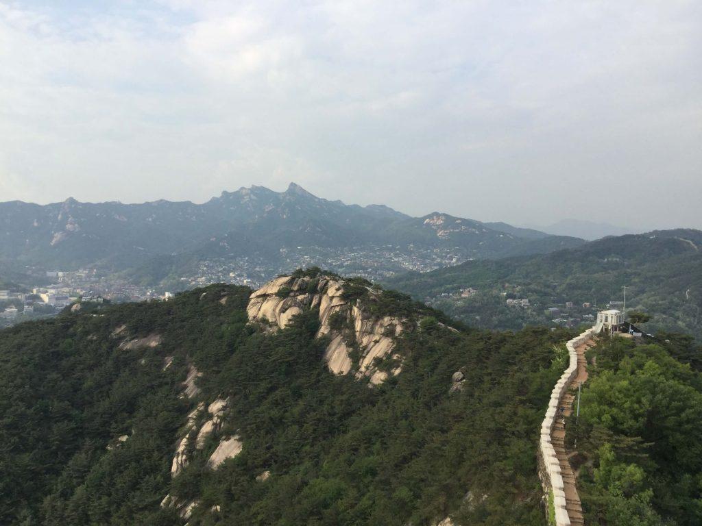 The Seoul Fortress Wall snaking away across Inwangsan and Bugaksan