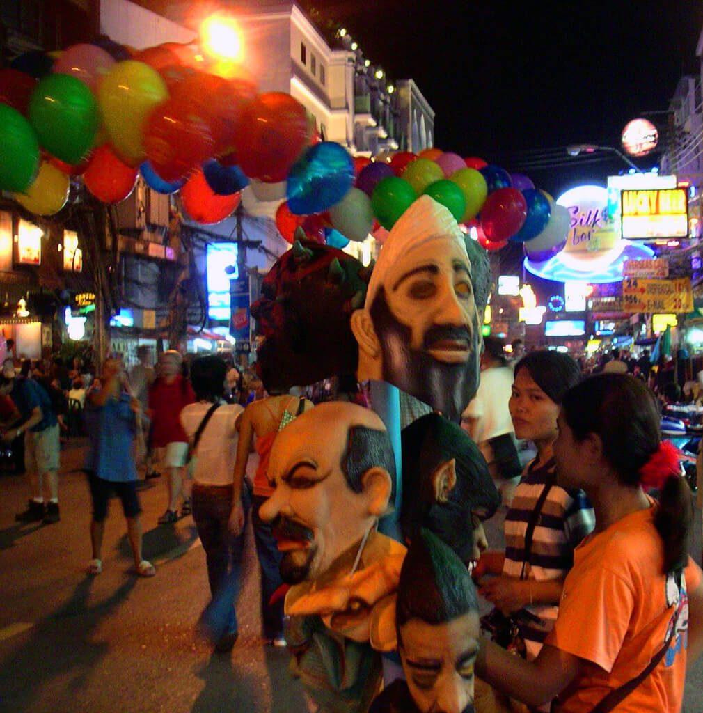 Bad taste fancy dress masks for sale on Khao San Road