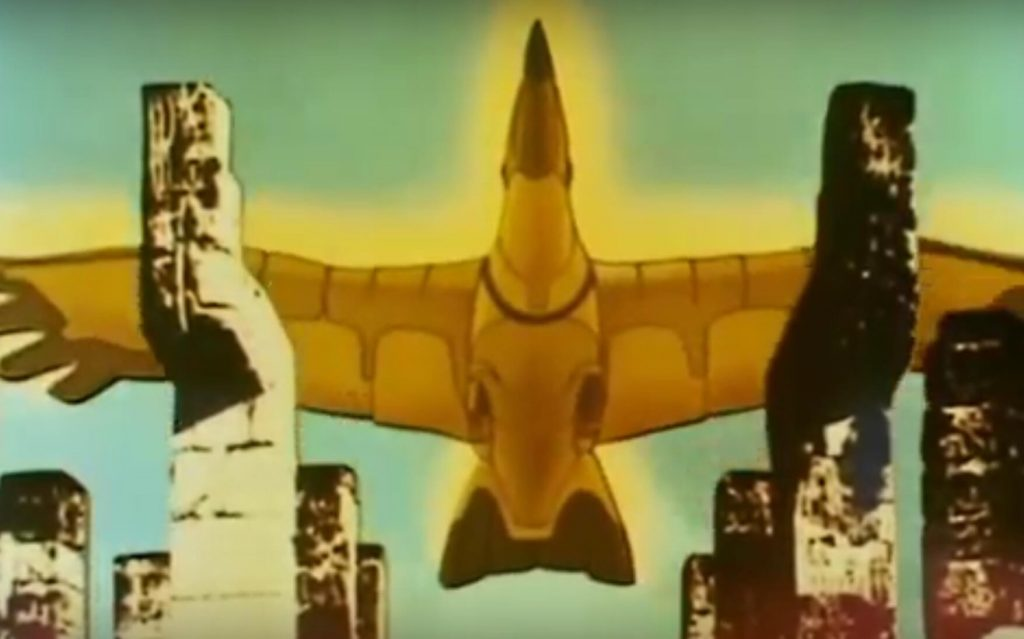 The golden condor flying over Chichen Itza in the Mysterious Cities of Gold intro