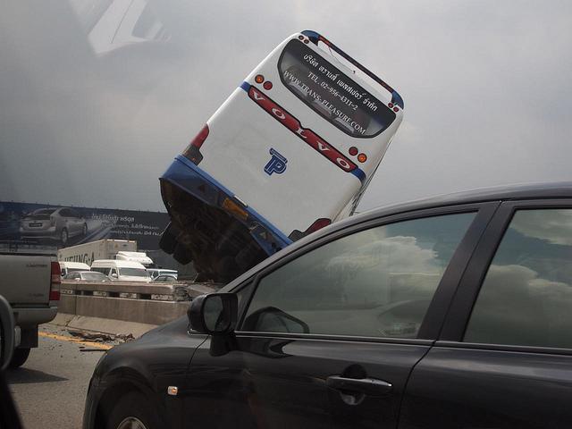 A crashed bus in Bangkok