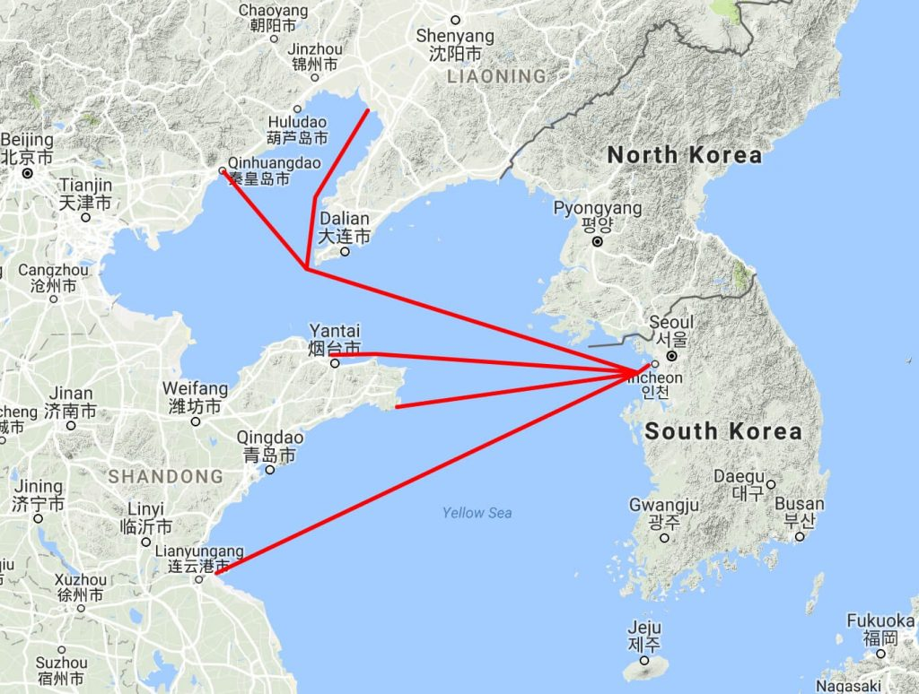 How to take the ferry from china to korea 4corners7seas china korea ferries incheon map 2 gumiabroncs Choice Image