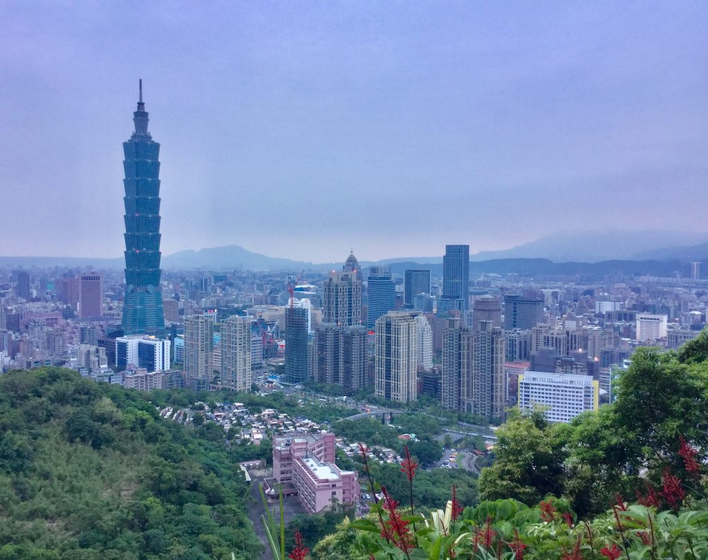 The famous view of Taipei 101 from Xiangshan