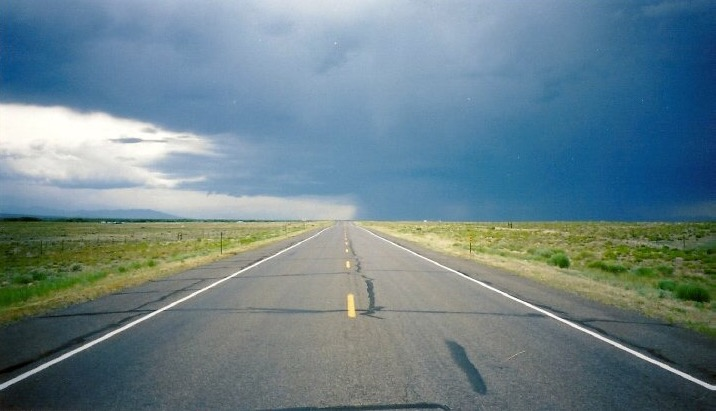 Stormy skies and the open road