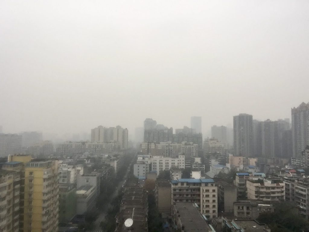 Chengdu on a day with high PM2.5 levels