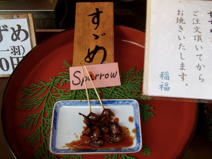 Grilled sparrow at Fushimi Inari