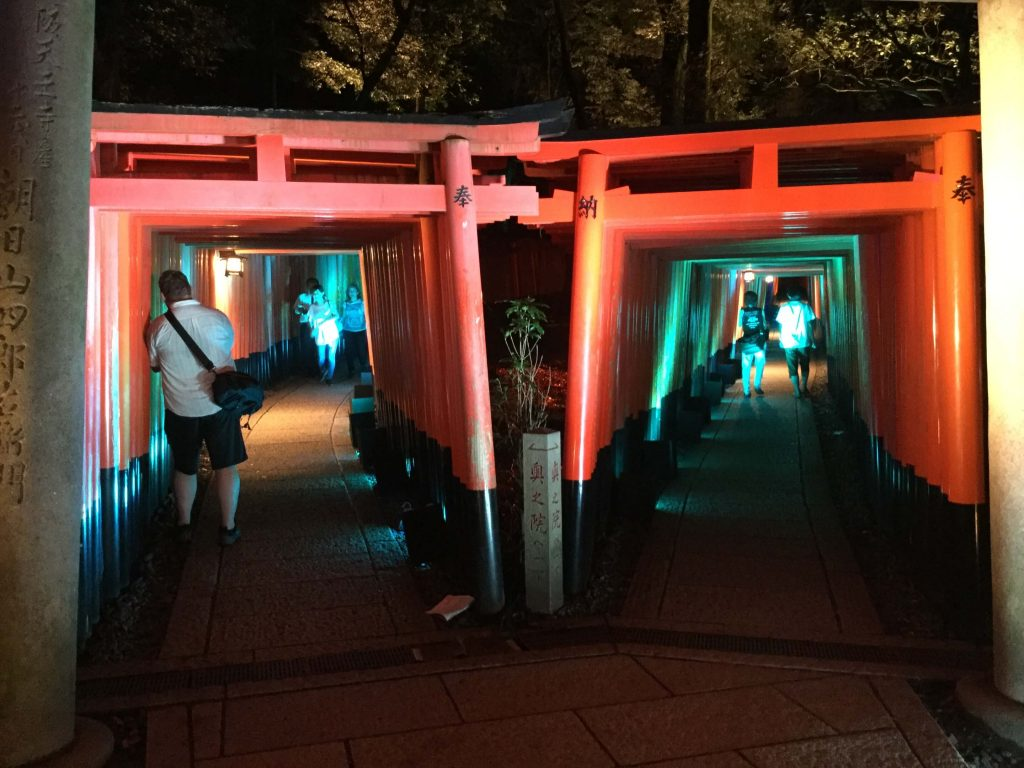 The twin torii tunnels at Fushimi Inari