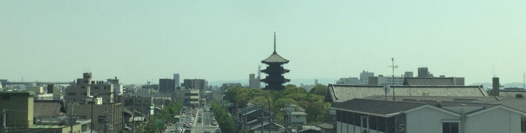 Toji's famous pagoda as seen from the shinkansen pulling in at Kyoto Station