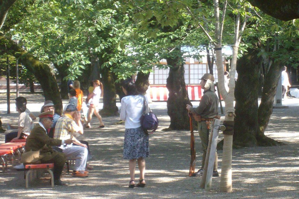 Nationalists in uniform at Yasukuni
