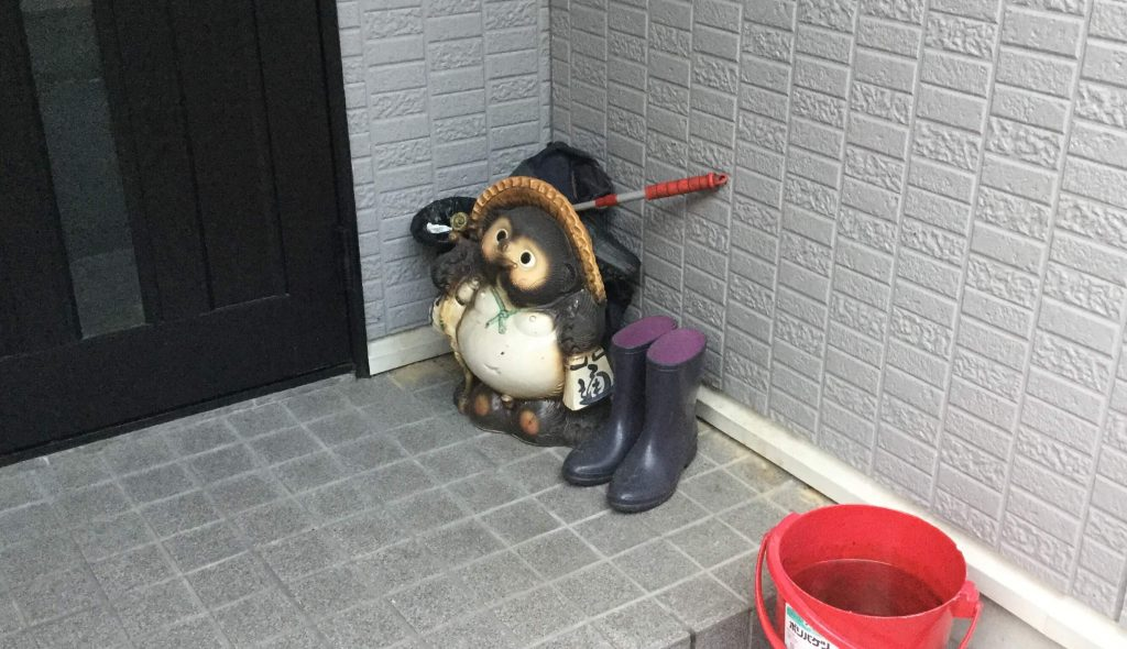 Tanuki outside a Kyoto home