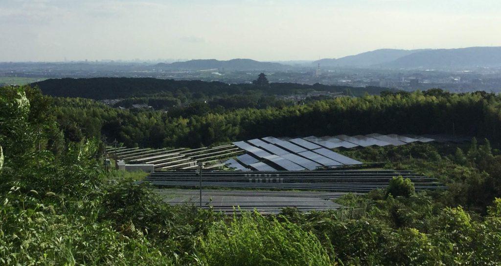 View of Mt Oiwa solar plant & Fushimi Momoyama Castle