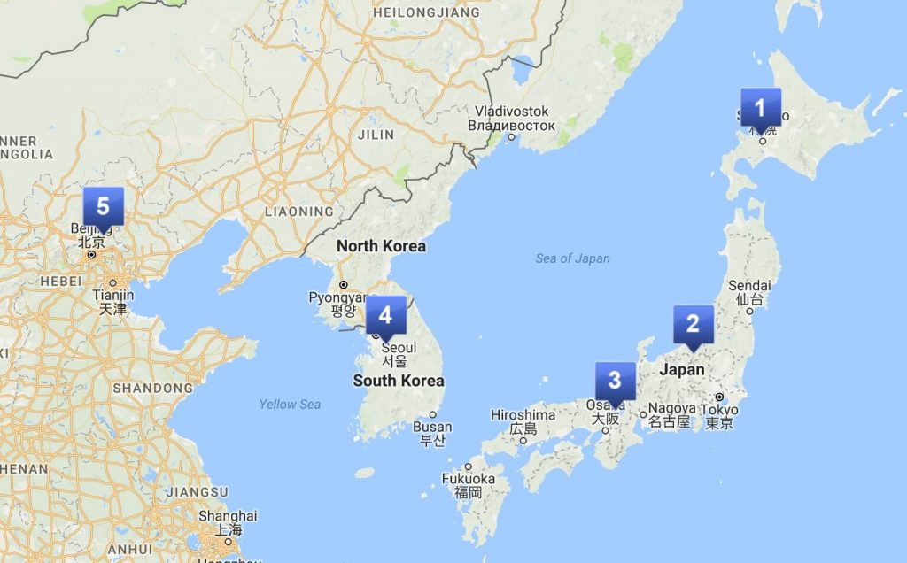 Skiing in Asia map