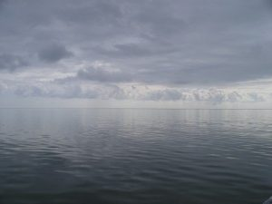 Calm seas in the morning before the boat crossing to Honduras