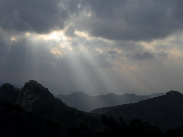 Dramatic light and clouds on top of Dobongsan