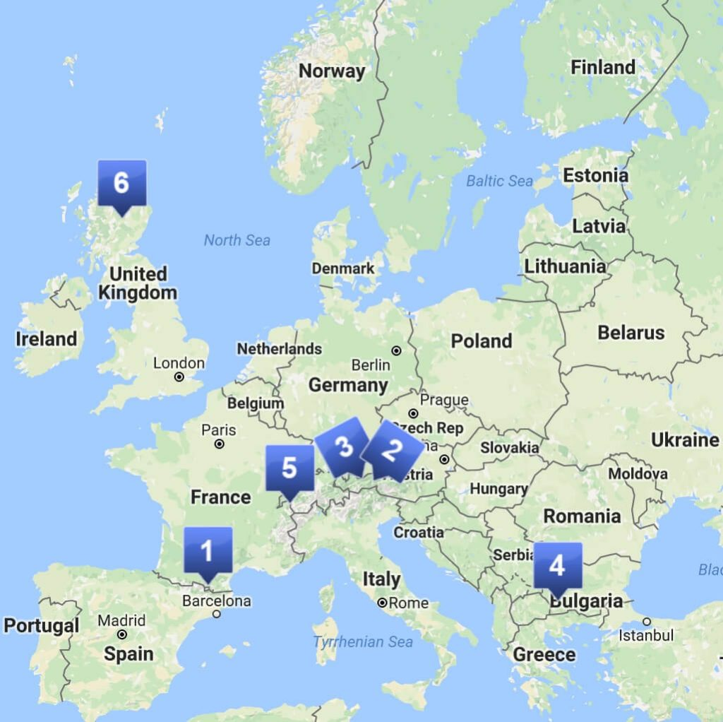 Skiing in Europe map