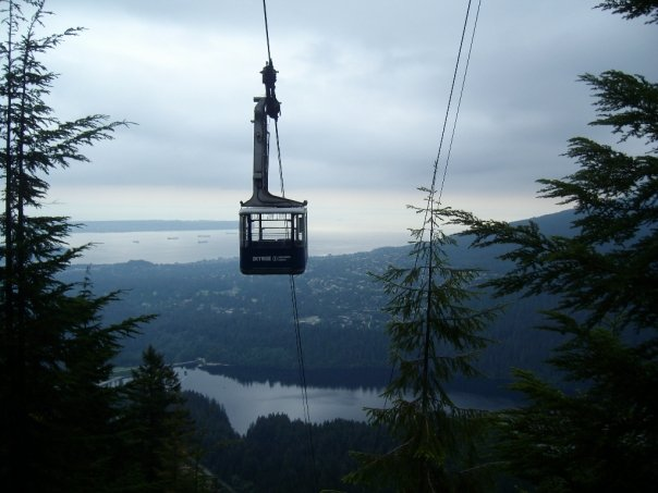 The Grouse Mountain ropeway viewed from the Grouse Grind trail