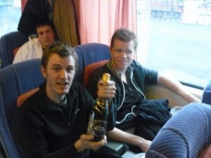 Birthday champagne on the Helsinki - St Petersburg train