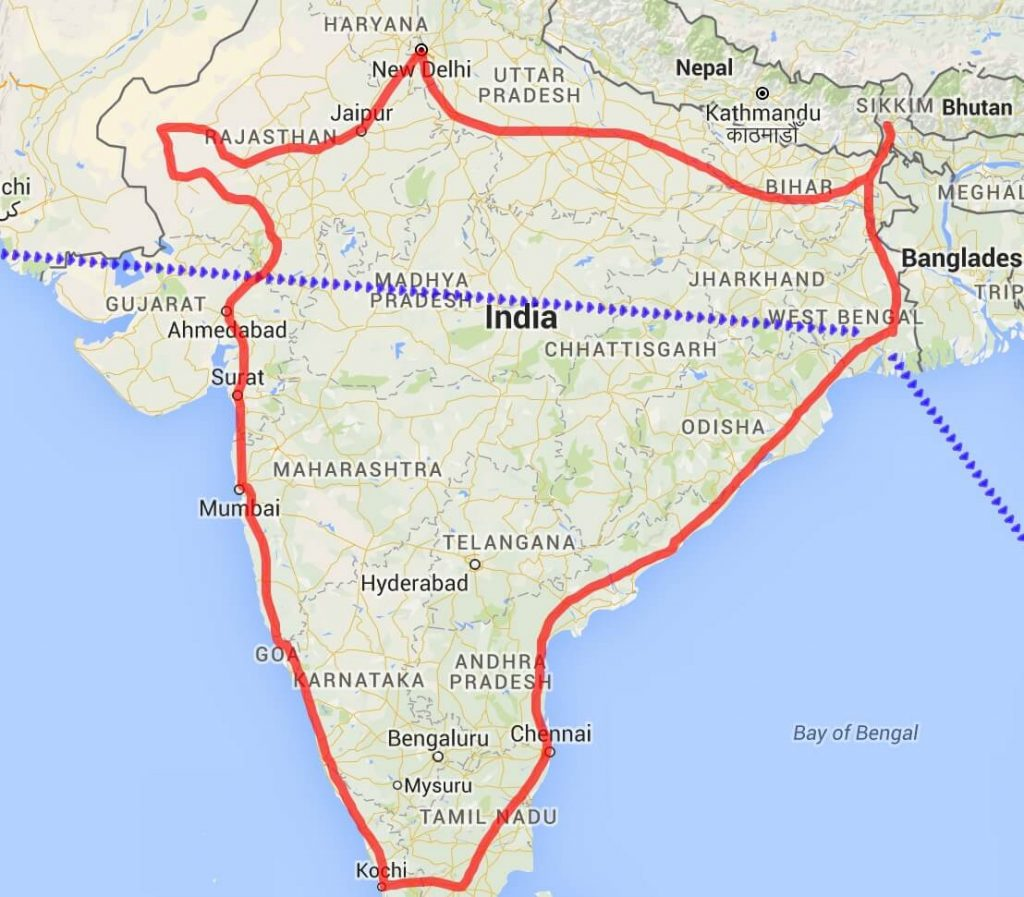 Map of my route around India