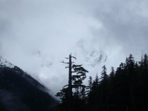 Partial view of Mt Baker through the clouds
