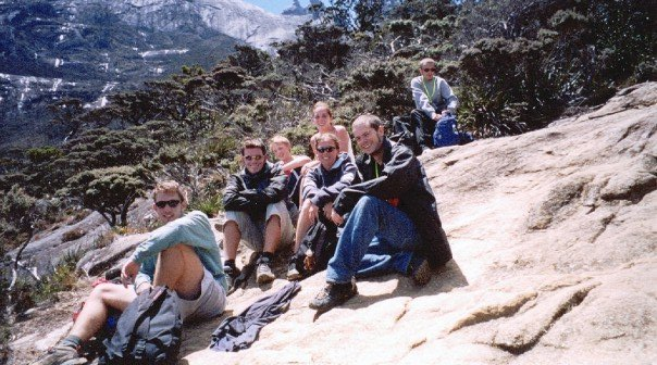 Pausing for a rest halfway up Mt Kinabalu
