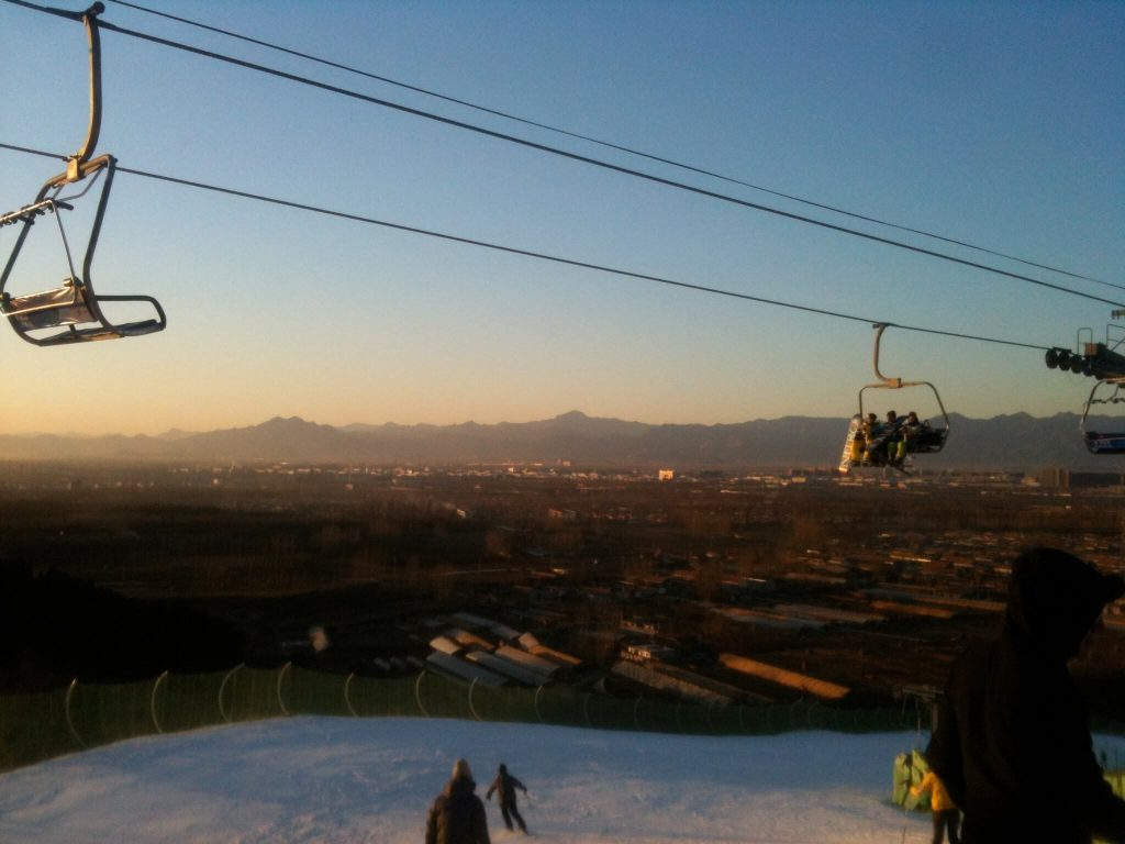 Skiing at Nanshan ski resort, Beijing