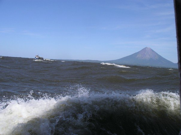 Rough crossing on Lake Nicaragua to Ometepe