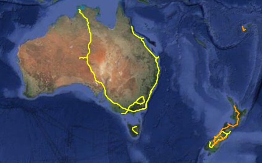 Map of my routes in Australia & New Zealand