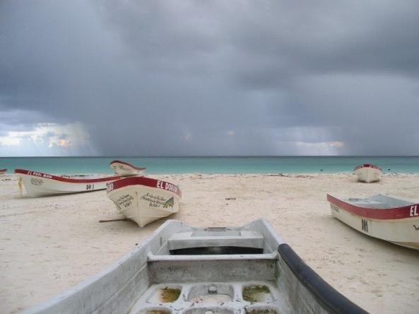 Rain storm over the Caribbean, Tulum