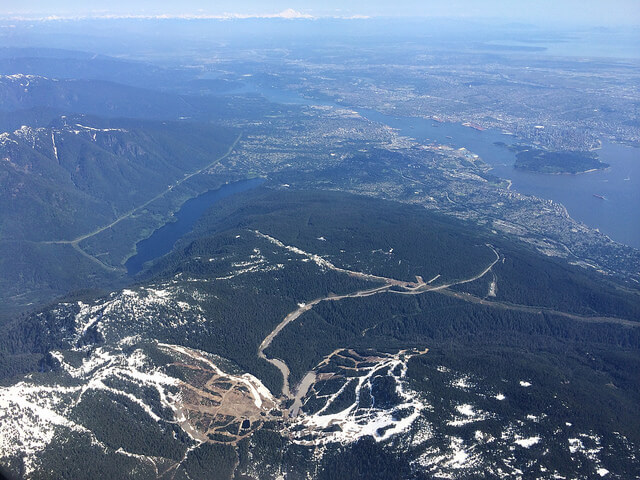 Aerial view of Vancouver's local ski hills