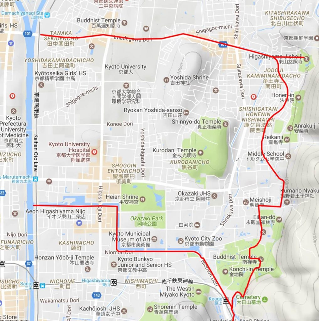 Biwako Canal hike Okazaki section map